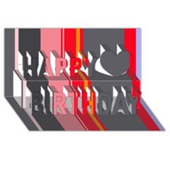 Optimistic Lines Happy Birthday 3d Greeting Card (8x4)  by Valentinaart