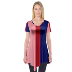 Pink and blue lines Short Sleeve Tunic  by Valentinaart