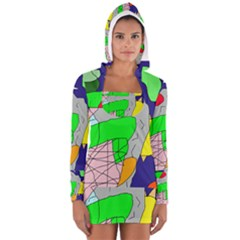 Crazy Abstraction Women s Long Sleeve Hooded T Shirt