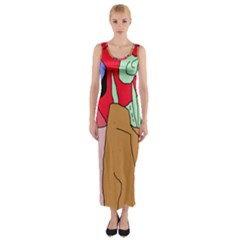 Imaginative Abstraction Fitted Maxi Dress by Valentinaart