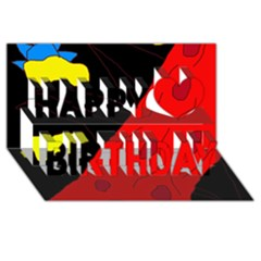 Red Abstraction Happy Birthday 3d Greeting Card (8x4)  by Valentinaart
