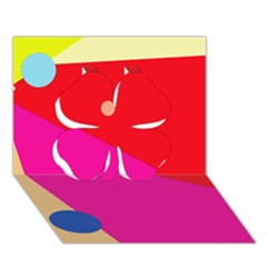 Colorful Abstraction Clover 3d Greeting Card (7x5)  by Valentinaart