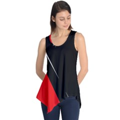 Black And Red Design Sleeveless Tunic