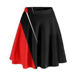 Black and red design High Waist Skirt by Valentinaart
