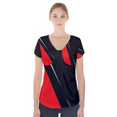 Black and red design Short Sleeve Front Detail Top by Valentinaart