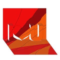 Red And Orange Decorative Abstraction I Love You 3d Greeting Card (7x5)  by Valentinaart