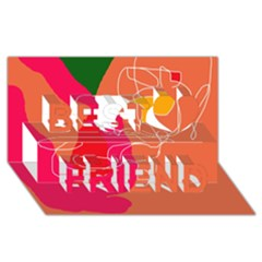 Orange abstraction Best Friends 3D Greeting Card (8x4)  by Valentinaart