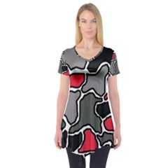 Black, gray and red abstraction Short Sleeve Tunic  by Valentinaart