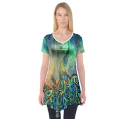 peacock Short Sleeve Tunic  by Wanni