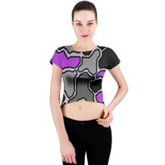 Purple and gray abstraction Crew Neck Crop Top by Valentinaart