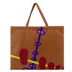 Brown Abstraction Zipper Large Tote Bag by Valentinaart