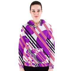 Purple Lines And Circles Women s Zipper Hoodie by Valentinaart
