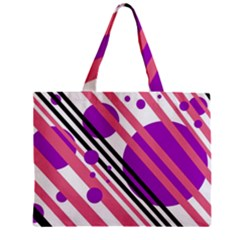 Purple lines and circles Zipper Mini Tote Bag by Valentinaart