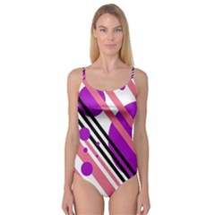 Purple lines and circles Camisole Leotard
