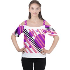 Purple Lines And Circles Women s Cutout Shoulder Tee by Valentinaart