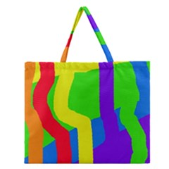 Rainbow Abstraction Zipper Large Tote Bag by Valentinaart