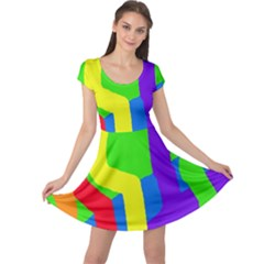 Rainbow Abstraction Cap Sleeve Dresses by Valentinaart