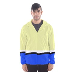 Yellow And Blue Simple Design Hooded Wind Breaker (men) by Valentinaart
