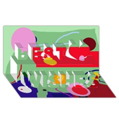 Optimistic Abstraction Best Wish 3d Greeting Card (8x4)  by Valentinaart