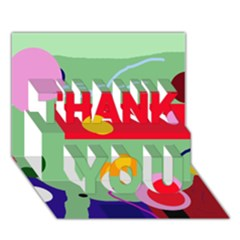 Optimistic Abstraction Thank You 3d Greeting Card (7x5)  by Valentinaart