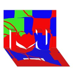 Abstract hart I Love You 3D Greeting Card (7x5)  by Valentinaart