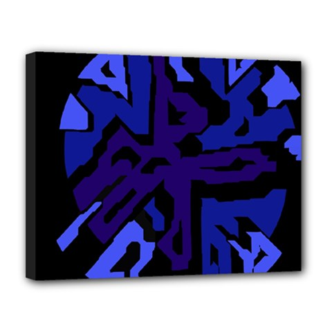 Deep Blue Abstraction Canvas 14  X 11  by Valentinaart