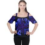 Deep blue abstraction Women s Cutout Shoulder Tee