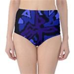 Deep blue abstraction High-Waist Bikini Bottoms