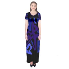 Deep Blue Abstraction Short Sleeve Maxi Dress
