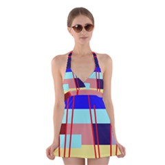 Abstract Landscape Halter Swimsuit Dress
