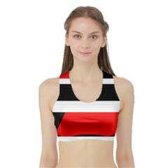 Red, white and black abstraction Sports Bra with Border by Valentinaart