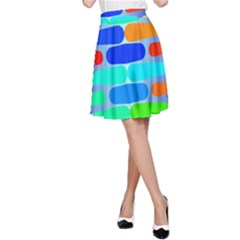 Colorful Shapes On A Blue Background                                                                                       A Line Skirt by LalyLauraFLM