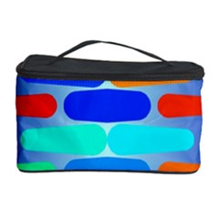 Colorful Shapes On A Blue Background                                                                                       Cosmetic Storage Case by LalyLauraFLM
