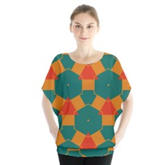 Honeycombs and triangles pattern             Batwing Chiffon Blouse by LalyLauraFLM