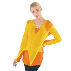 Orange abstract design Women s Tie Up Tee by Valentinaart