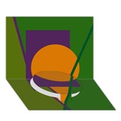 Green And Orange Geometric Design Circle Bottom 3d Greeting Card (7x5)  by Valentinaart
