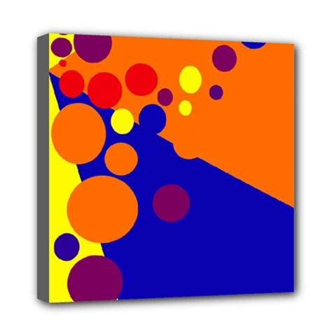 Blue And Orange Dots Mini Canvas 8  X 8  by Valentinaart