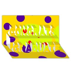 Yellow And Purple Dots Congrats Graduate 3d Greeting Card (8x4)  by Valentinaart
