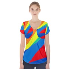Colorful abstract design Short Sleeve Front Detail Top