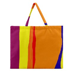 Hot colorful lines Zipper Large Tote Bag