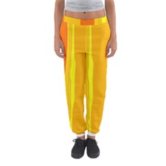 Yellow And Orange Lines Women s Jogger Sweatpants by Valentinaart