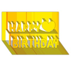 Yellow lines Happy Birthday 3D Greeting Card (8x4)