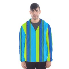 Blue and green lines Hooded Wind Breaker (Men) by Valentinaart