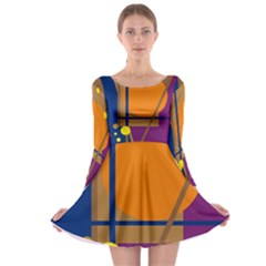 Decorative abstract design Long Sleeve Skater Dress by Valentinaart