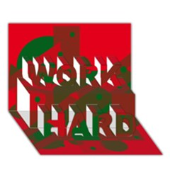 Red and green abstract design WORK HARD 3D Greeting Card (7x5)  by Valentinaart