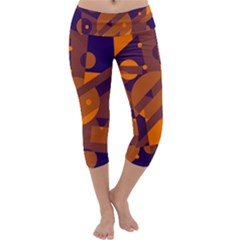 Blue and orange abstract design Capri Yoga Leggings by Valentinaart