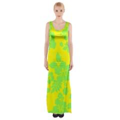 Bright Hawaiian Maxi Thigh Split Dress by AlohaStore