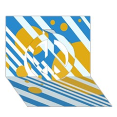 Blue, Yellow And White Lines And Circles Peace Sign 3d Greeting Card (7x5)  by Valentinaart