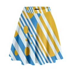 Blue, Yellow And White Lines And Circles High Waist Skirt by Valentinaart