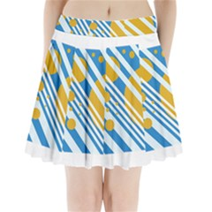 Blue, Yellow And White Lines And Circles Pleated Mini Mesh Skirt by Valentinaart